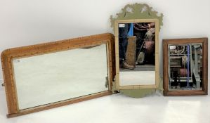 19th century painted oak framed upright wall mirror, (70cm x 39cm) together with a 19th century inla
