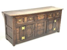 Georgian oak dresser, with two long and one short drawer over two fielded panelled cupboards enclosi