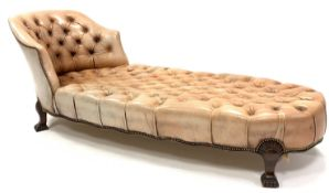 Georgian style chaise longue, with tub shaped raised back rest, upholstered in deep buttoned and stu