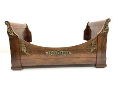 19th century mahogany French Empire design single 3' sleigh bed, with box base, embellished with gil