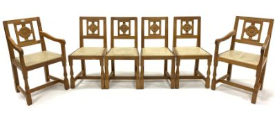 Set six (4+2) Eagleman Yorkshire oak dining chairs, with Yorkshire rose carved backs, leather uphols