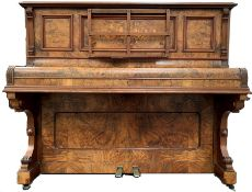 Albert Fahr Victorian figured walnut over strung upright piano with floral marquetry panel and reede