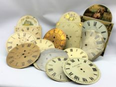 Various clock dials, manly white painted enamel, (15) and some longcase movement seat boards,