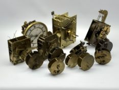 Twin train driven longcase clock movement, (W17cm) and various other clock movements, (14)