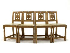 Set four 'Squirrelman' Yorkshire oak dining chairs, Yorkshire rose carved back panel over leather up
