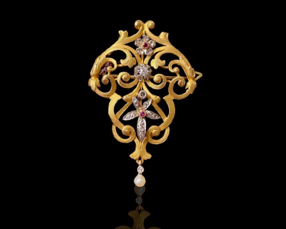 French Antique Diamond and Pearl Pendant/Brooch, 1880s