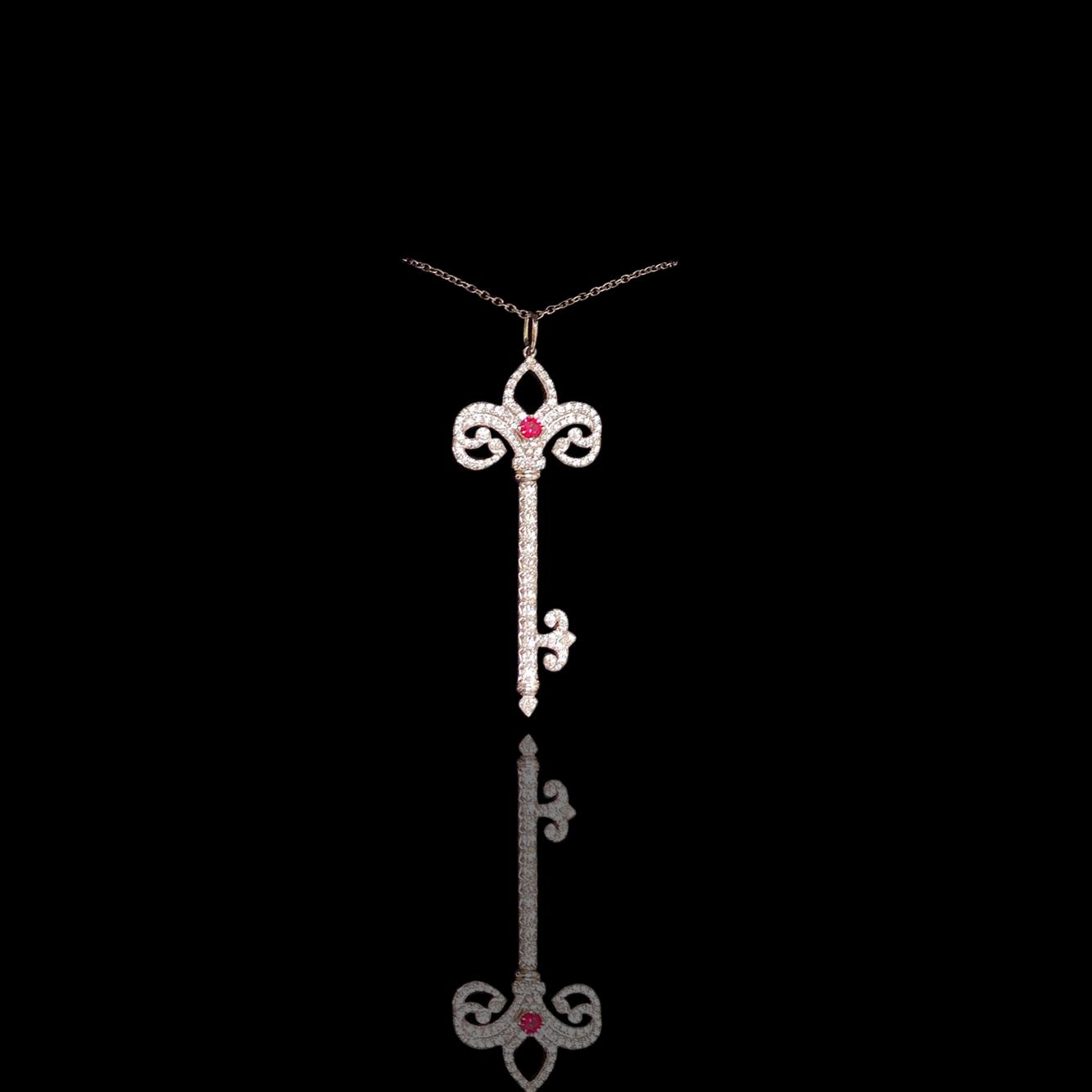 Lot 40 - Tiffany Keys Platinum, Diamonds and Ruby Necklace, Tiffany & Co.