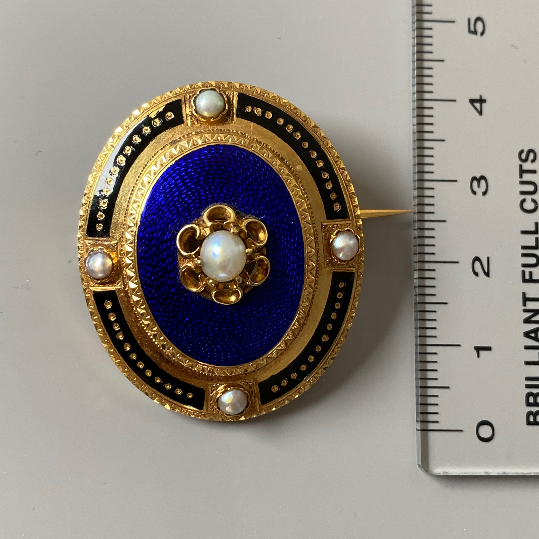 Lot 39 - Guilloche Enamel and Pearl Brooch, Victorian
