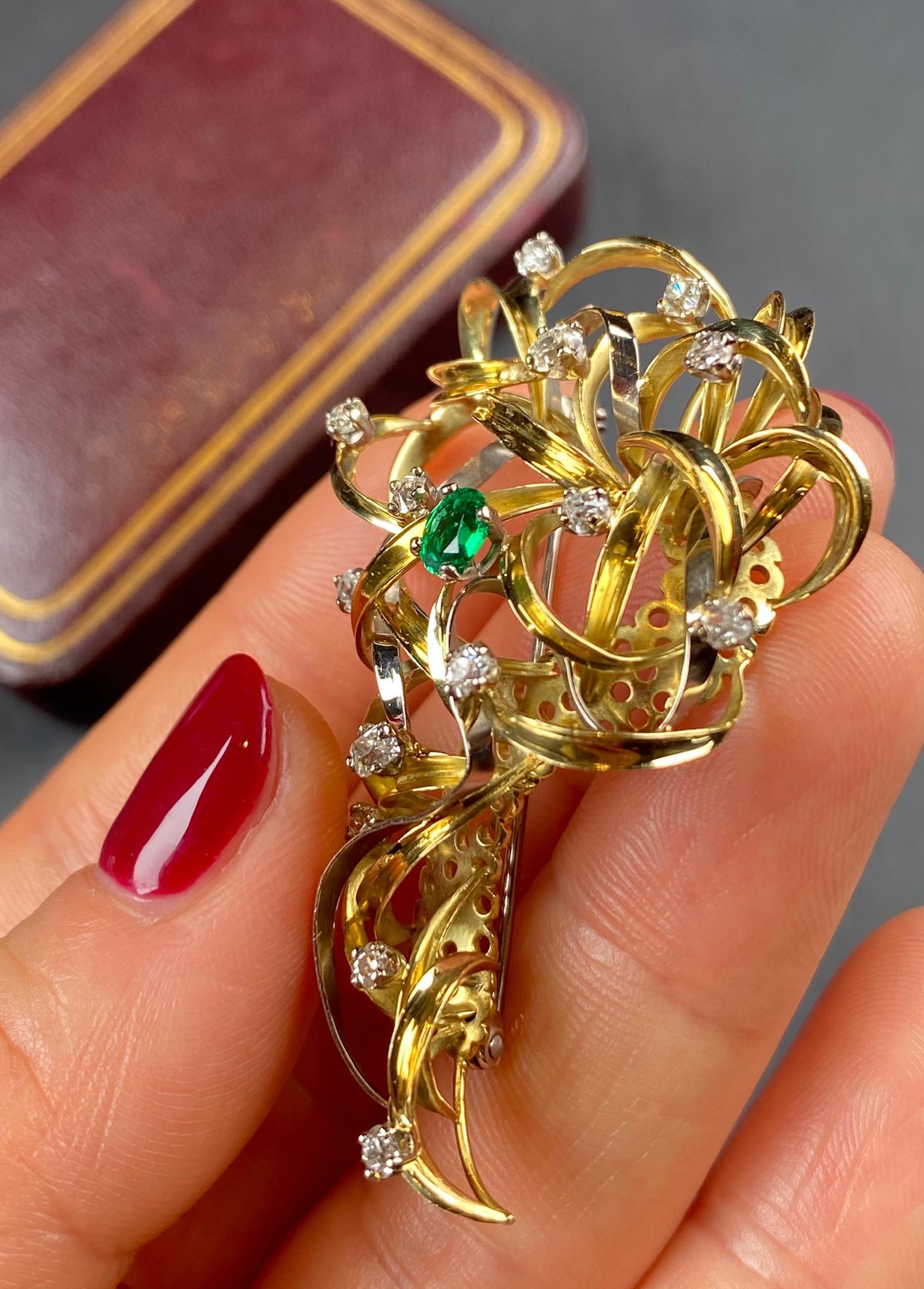 Emerald and Diamond Brooch - Image 6 of 6