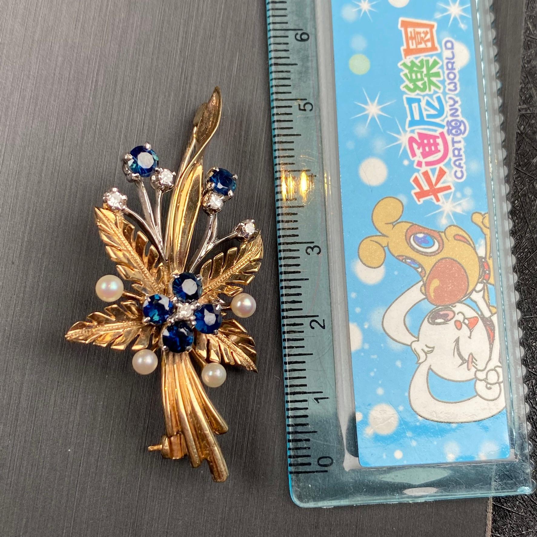 Lot 1 - Sapphire, Pearl and Diamond Brooch, 1940s