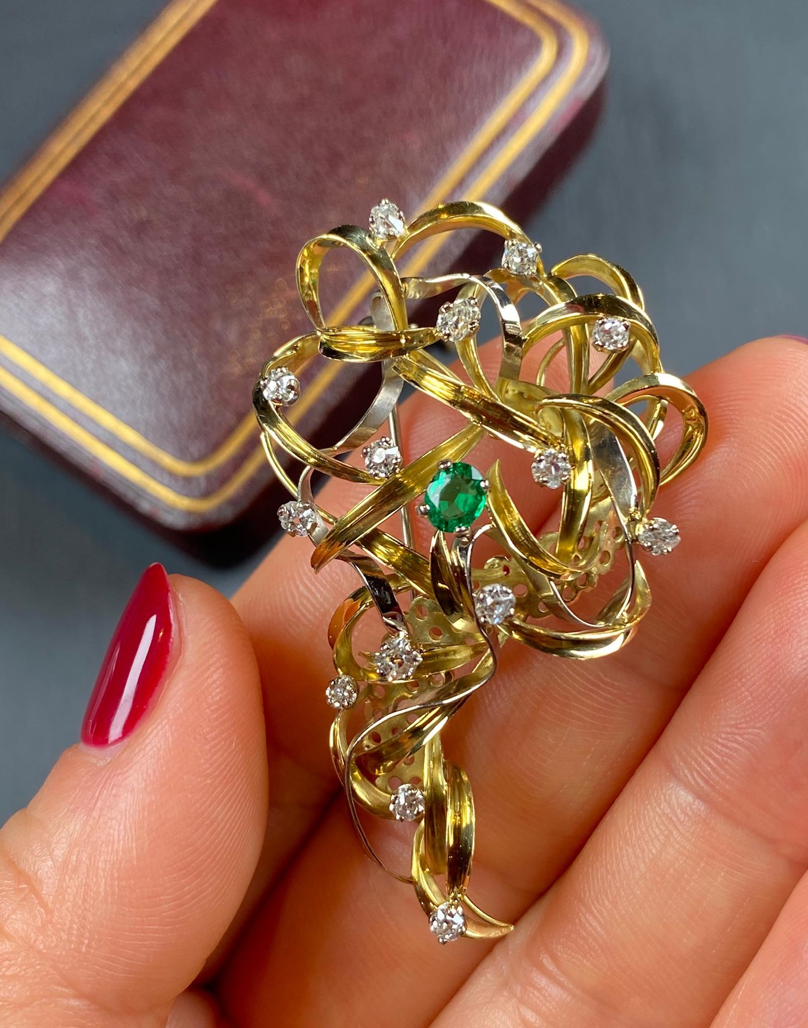 Lot 8 - Emerald and Diamond Brooch