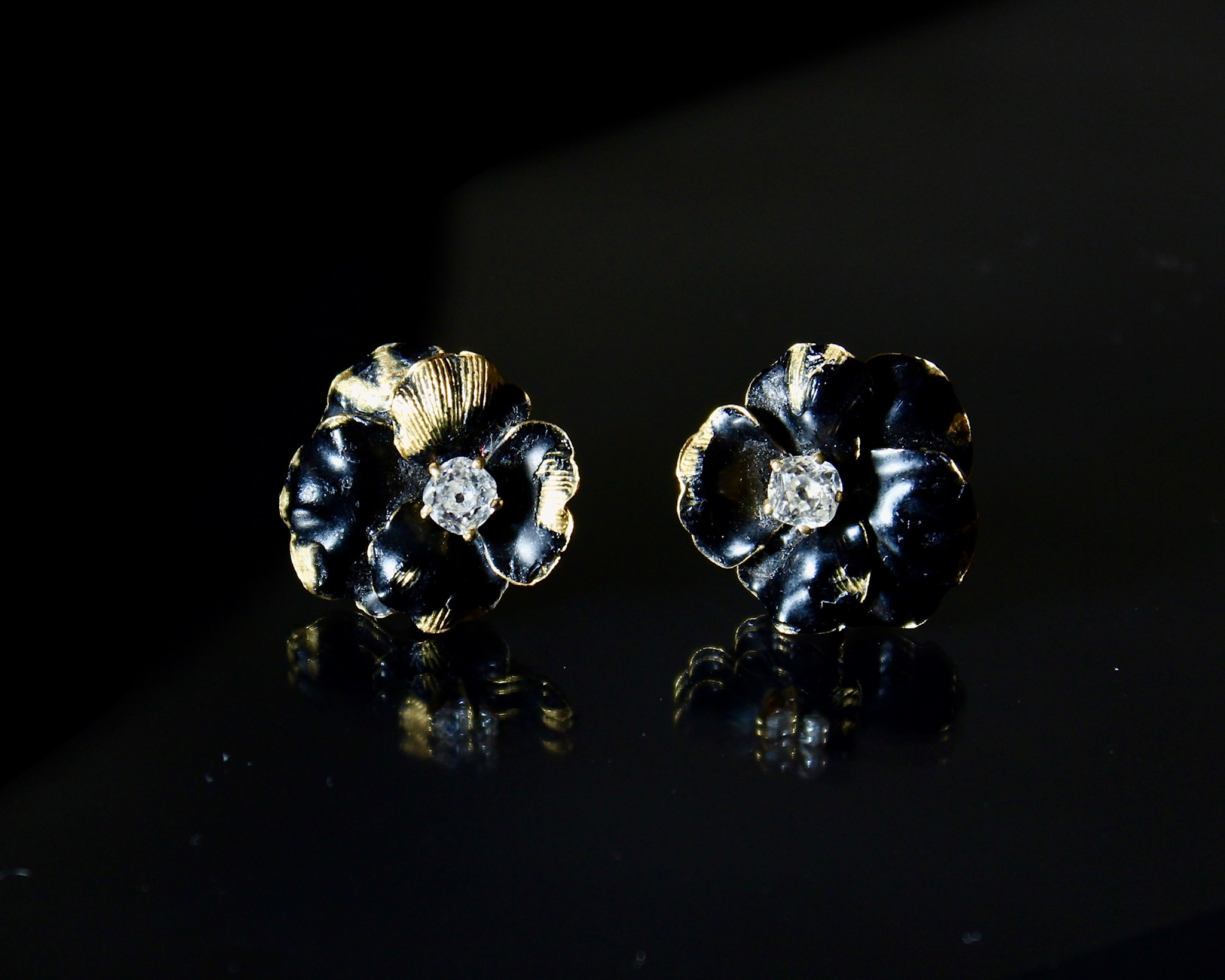 Lot 28 - Black Enamel and Diamond Stud Earrings, Tiffany & Co.