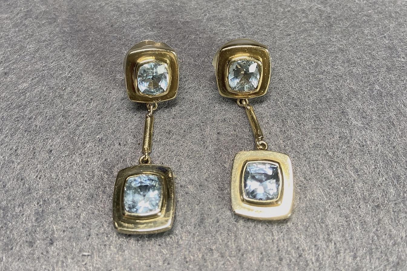 Lot 9 - Vintage Aquamarine Earrings, 1970s