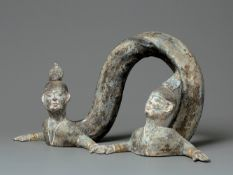 A Grey Pottery Double-Headed Snake-Form Figure, Tang Dynasty