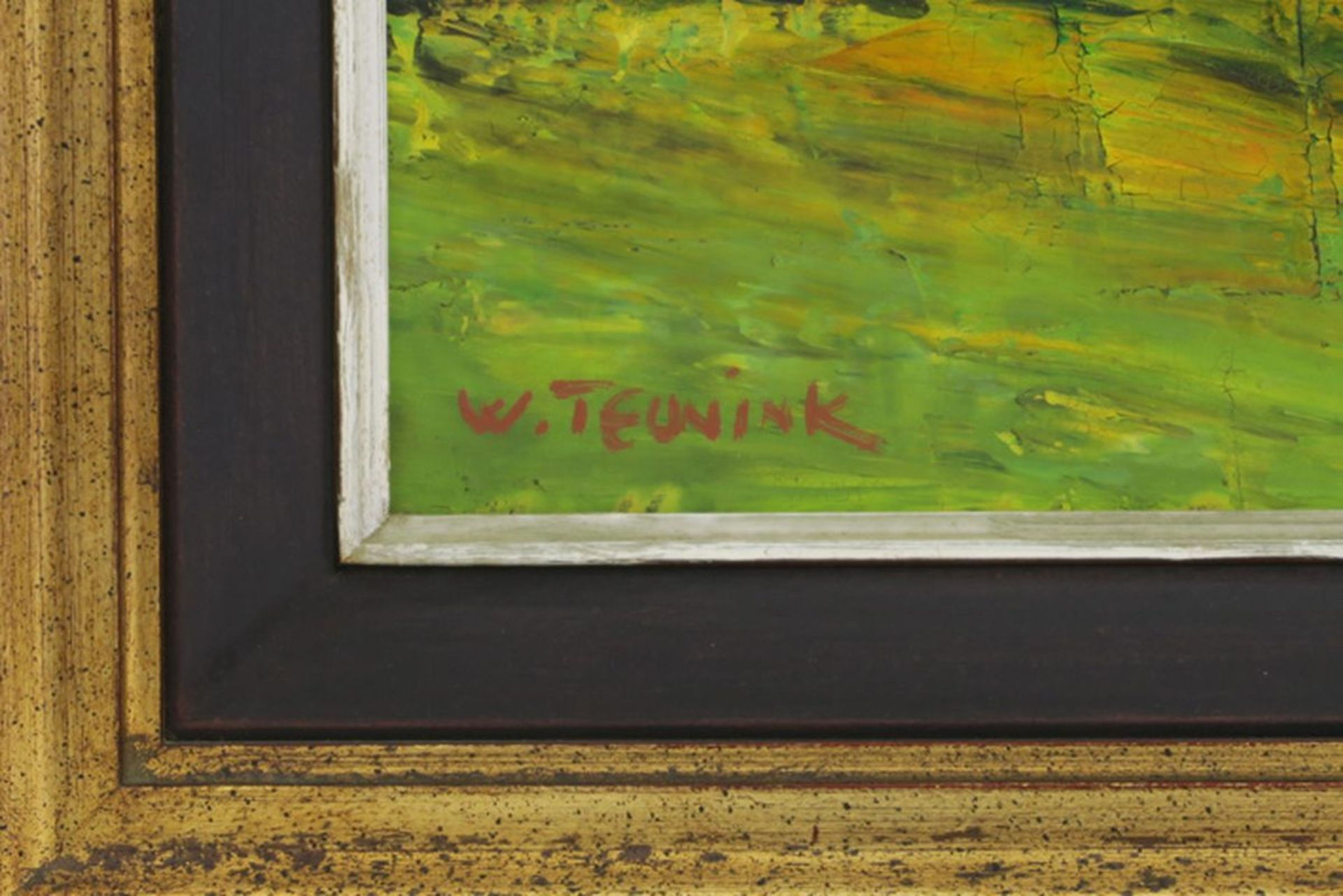 """Los 655 - THEUNYNK WALTER (° 1941) twee olieverfschilderijen op doek : """"Landschap met huis"""" [...]"""