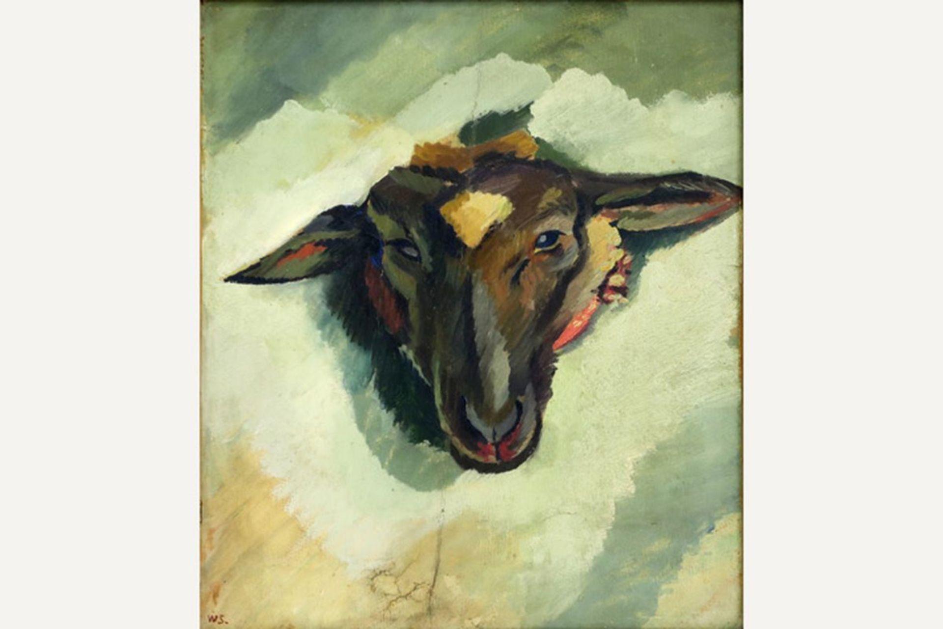 """SCHARFF WILLIAM (1886 - 1959) Deens olieverfschilderij op doek : """"Schapenkop"""" - 42 [...] - Bild 2 aus 4"""