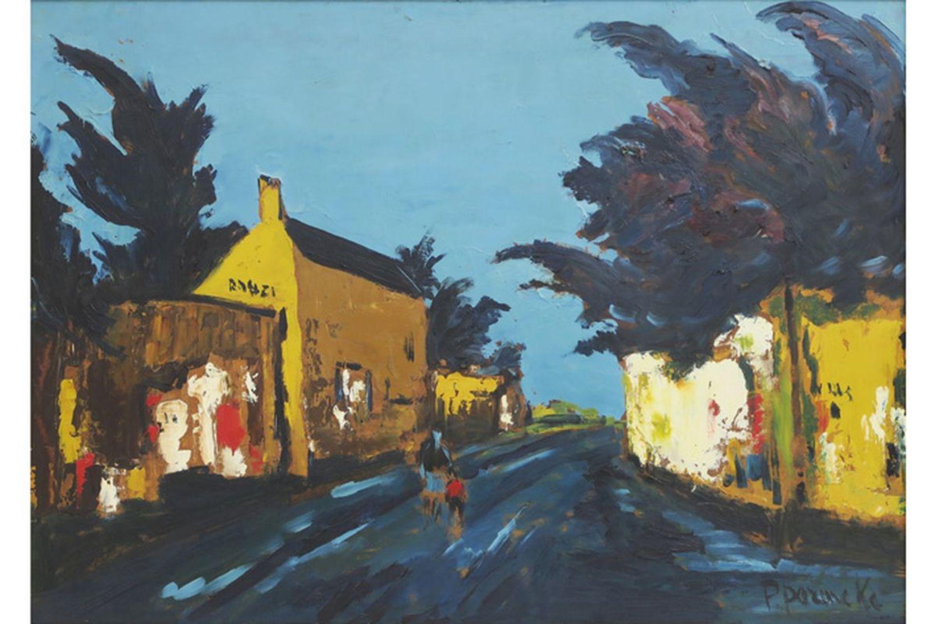 """Los 654 - PERMEKE PAUL (1918 - 1990) olieverfschilderij op paneel : """"Geanimeerd straatzicht"""" - [...]"""