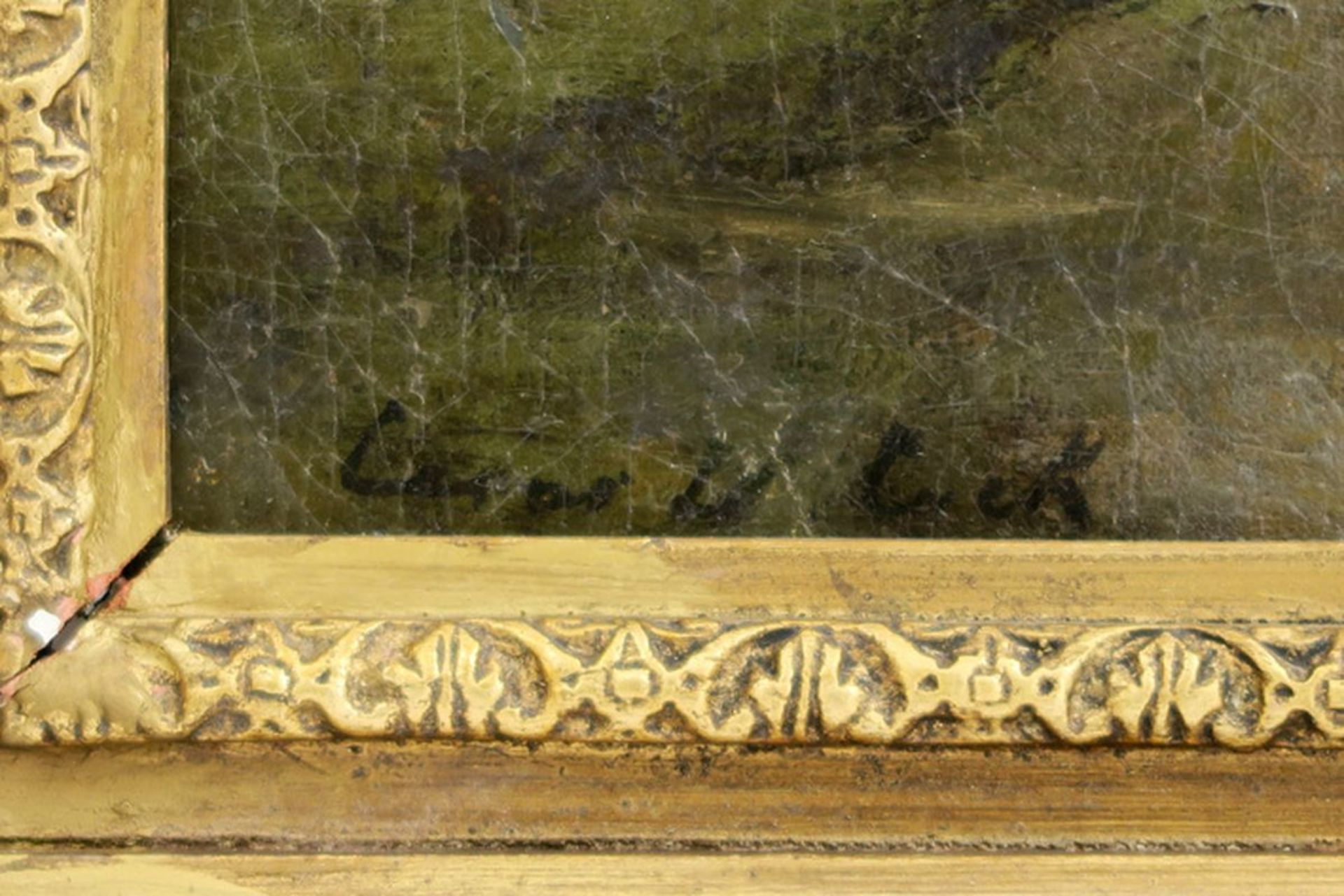 """Los 639 - DE COCK CÉSAR (1823 - 1904) olieverfschilderij op doek : """"Herder met schapen onder [...]"""