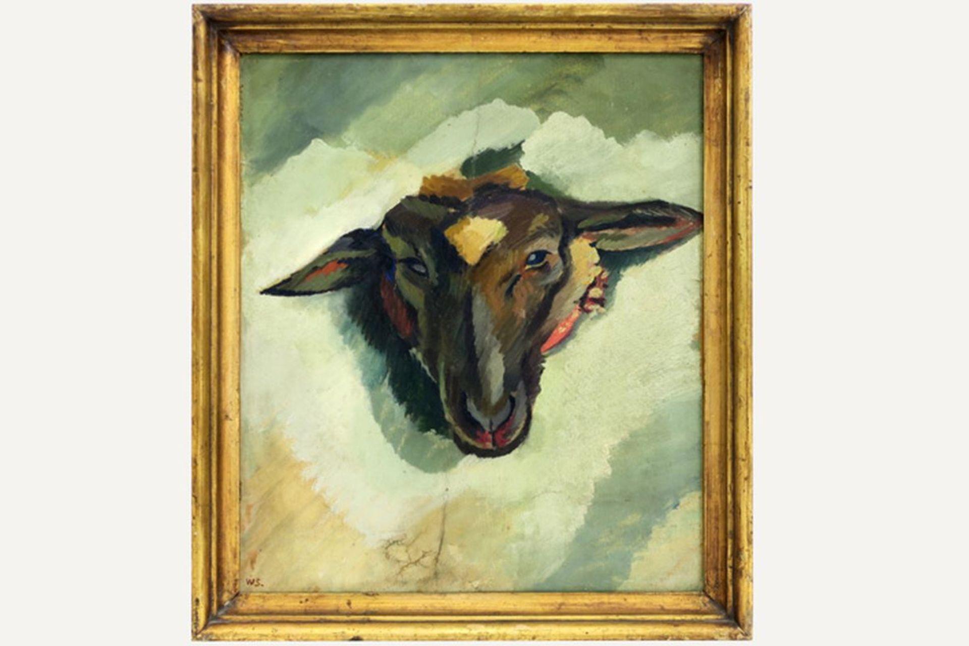 """SCHARFF WILLIAM (1886 - 1959) Deens olieverfschilderij op doek : """"Schapenkop"""" - 42 [...]"""