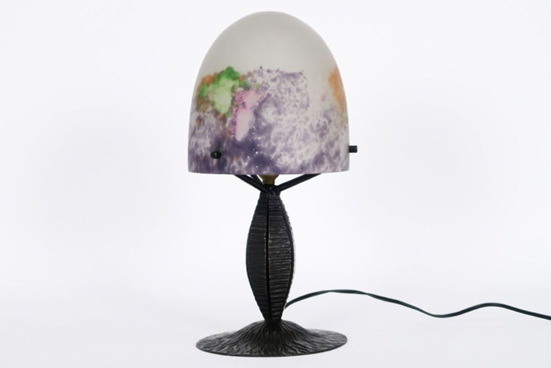 Los 615 - MÜLLER frêres LUNEVILLE champignonvormige Art Deco-lamp met voet en kap in [...]