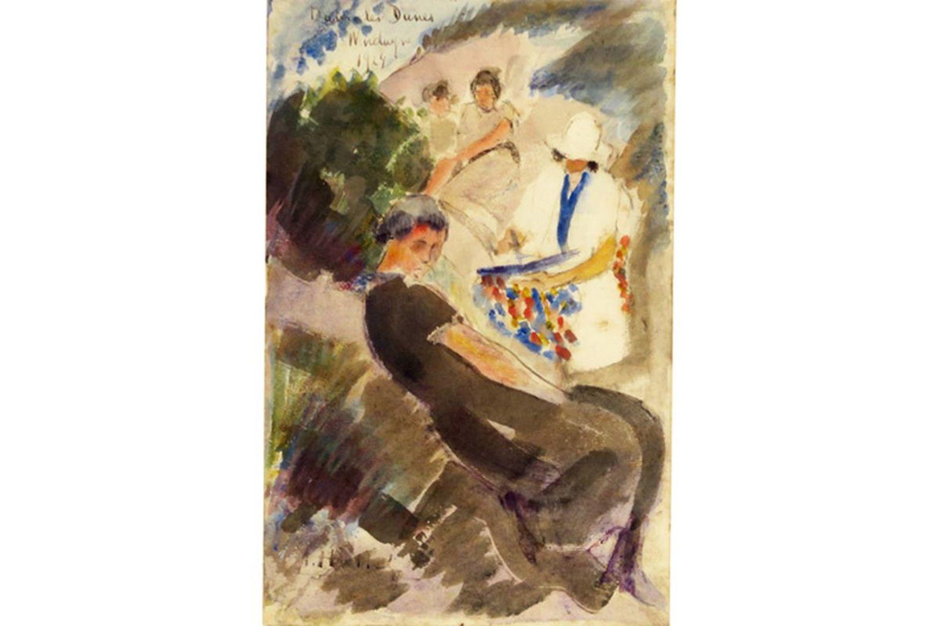 "Los 656 - HALLET ANDRÉ (1890 - 1959) aquarel : ""Vier personages"" - 22,5 x 14,5 getekend en [...]"