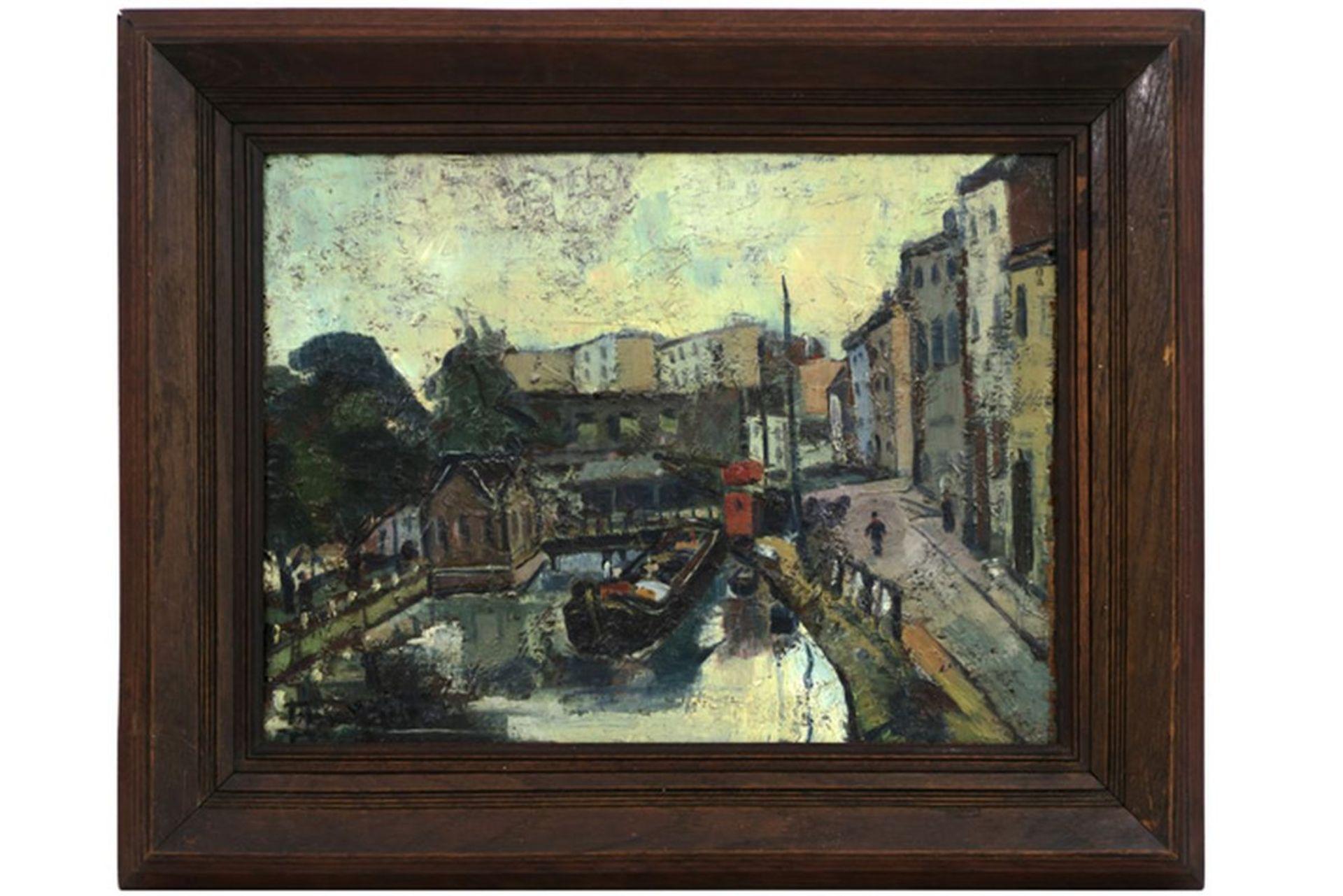 """Los 649 - ... JEAN-JACQUES - BELGISCHE SCHOOL olieverfschilderij op paneel getiteld """"Canal [...]"""