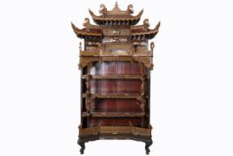 antique Chinese Qing dynasty cabinet in richly sculpted wood with ivory inlay - - [...]