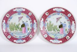 """rare pair of 18th Cent. Chinese plates in porcelain with a rich polychrome """"Cornelis [...]"""