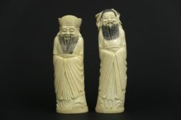 """pair of old Chinese """"Sage"""" sculptures in ivory - - Paar oude Chinese sculpturen in [...]"""