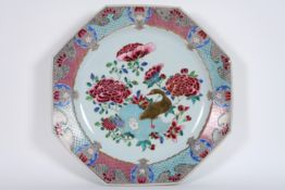 quite big 18th Cent. Chinese octogonal dish in porcelain with 'Famille Rose' decor [...]