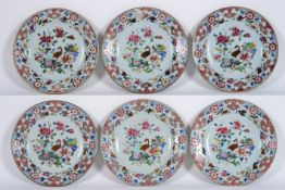 set of six 18th Cent. Chinese plates in porcelain with 'Famille Rose' decor with a [...]