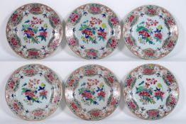 set of six 18th Cent. Chinese plates in porcelain with 'Famille Rose' decor with cock [...]