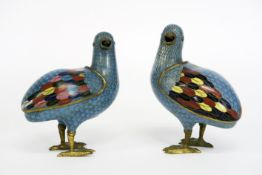 pair of antique Chinese cloisonné 'partridges' with lid - with an Qian Long mark - [...]