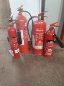 5 VARIOUS FIRE EXTINGUISHERS