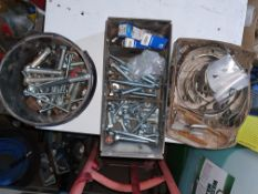 ASSORTMENT OF NUTS, BOLTS AND CLAMPS