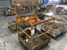 A pedestrian forklift cage. Please note: This item has no record of Thorough Examination. The