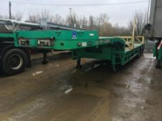 Goldhofer step frame tri-axle all steering double extendable trailer, extendable to 70 ft, remote..