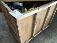 A box pallet of ratchet straps