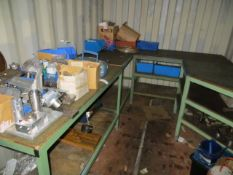 Contents of container to include 5 workbenches, bay os slot together racking & a steel 2 drawer