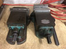 Two small machine vices as lotted