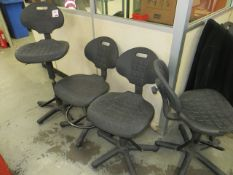 Nine height adjustable workshop chairs as lotted