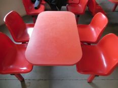 Three 4 seat red canteen table and chairs