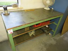 Five various work benches as lotted excluding contents