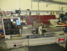 Harrison M460 GH gap bed centre lathe Year: 1995 Serial no. 4M0012 c/w two shelving units