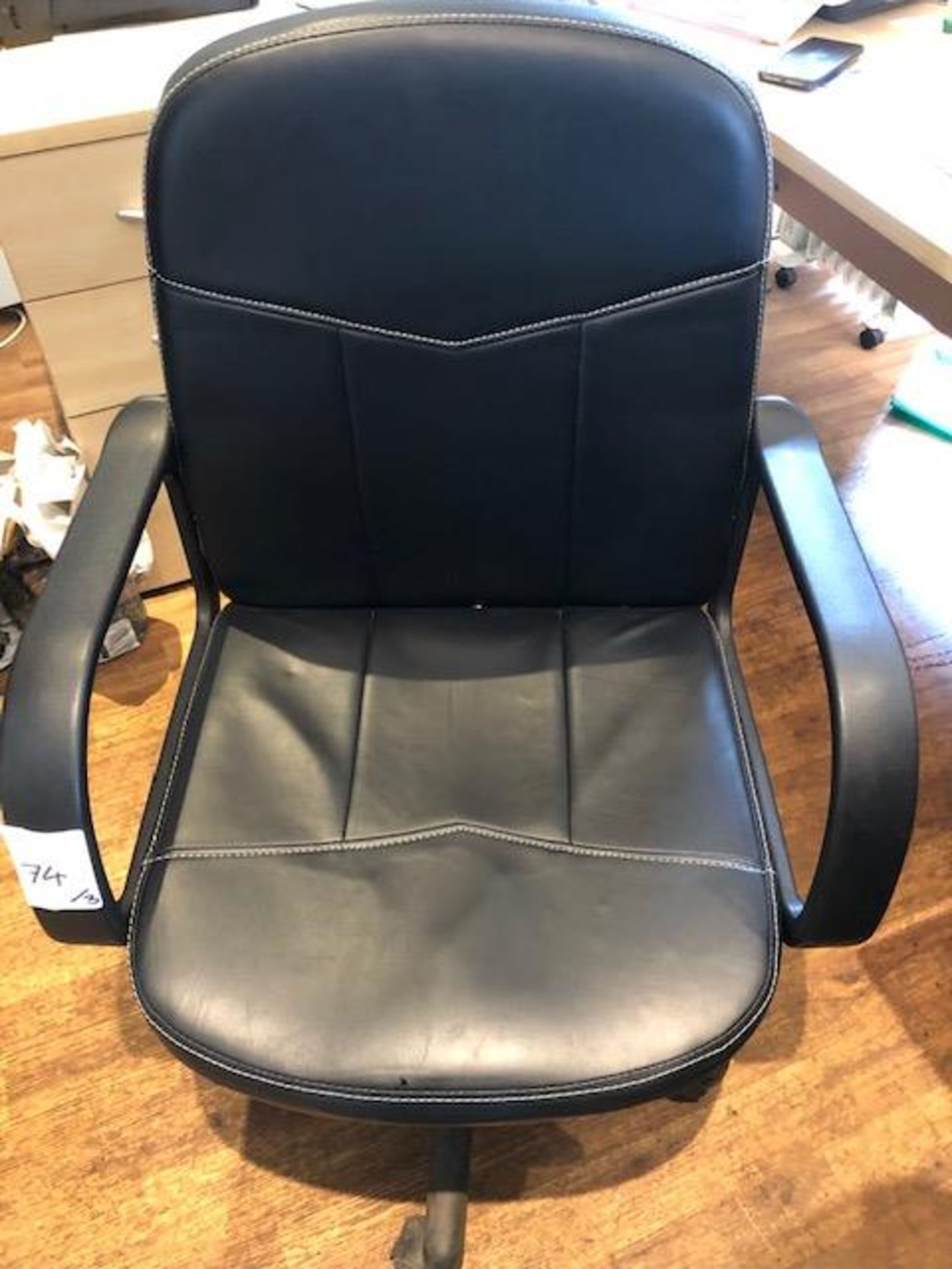 Lot 74 - Three leatherette swivel office chairs NB This lot to be removed on first day of clearance Monday