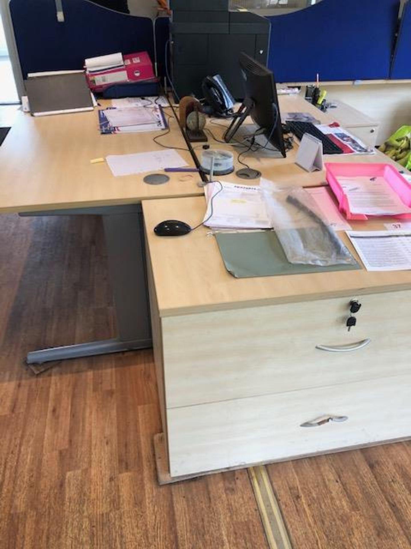 Lot 73 - Three light oak veneer tables L 1600mm W 1200mm, two light oak veneer wave front tables with desk
