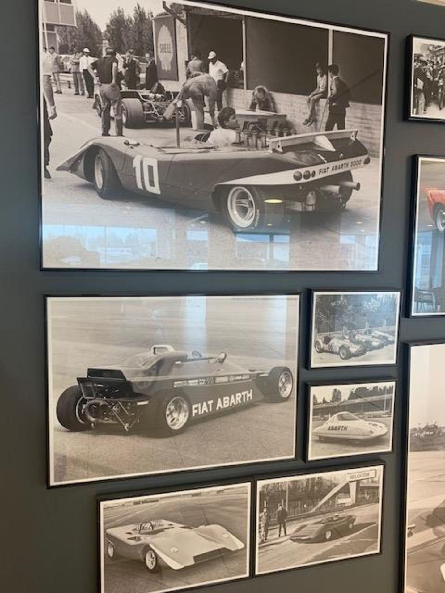 Lot 37 - Thirteen framed Abarth racing photos