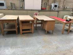 Five wooden works benches (contents not included)