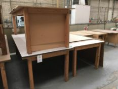 Three wooden works benches (contents not included)