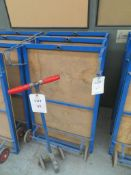 Three flat bed work trolleys with one handle